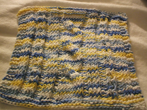 cables and lace dishcloth