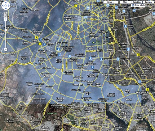 If you check out New Delhi on Google Maps, you will see a big fog hovering