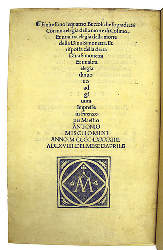 Colophon and printer's device in Vergilius Maro, Publius: Bucolica [Italian]
