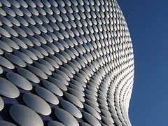 Selfridges in Birmingham - curves and cirles (Katie-Rose) Tags: city uk blue sky lines birmingham circles curves bluesky selfridges round modernarchitecture bullring futuresystems inarow pacorab