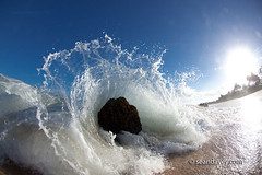 A wave crashing to the beach at Log Cabin, on the north shore of Oahu, Hawaii (Sean Davey Photography) Tags: pictures ocean sea color green art beach nature rock horizontal spectacular photography hawaii energy waves power oahu north fine wave sean shore dreamy curl aquatic splash swell alternative curling davey endless h30