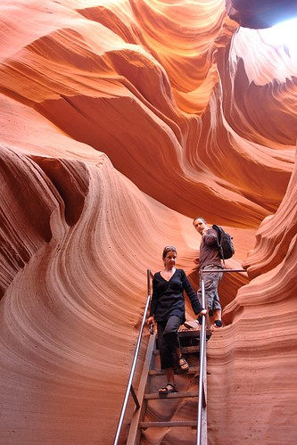 Descending Into the Swirling Sandstone of Lower Antelope Canyon, Page Arizona