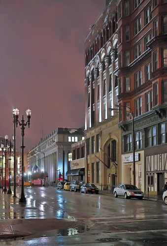 Downtown Saint Louis, Missouri, USA - at night in the rain 3
