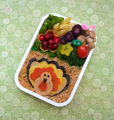 turkey day bento (gamene) Tags: turkey tomatoes broccoli cranberries bento friedrice snowpeas tofurkey purplecauliflower yellowwaxbeans purplecarrots vegetarianturkey