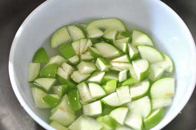 diced Granny Smith apples for fruit salad