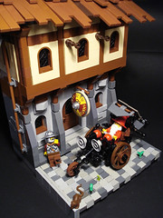 Windle Poons in Ankh-Morpork (captainsmog) Tags: street soldier rat lego wheelchair contest horns books terry hood mage pratchett ironworks novels paved mocs discworld moc poons ankhmorpork windle