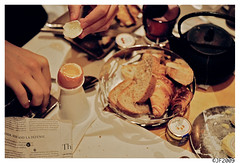 Four Minute Egg... (mongrelnomad) Tags: paris france adam hotel october egg boiled 2009 sofitel faubourg kodak400vc fourminutes leicamp october2009 leicaelmar50mmf28