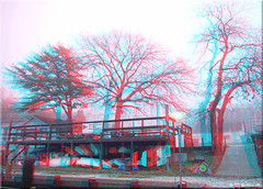 OPHM (Oak Pt Harbor Marina) (starg82343) Tags: trees mist reflection wet water misty fog sailboat marina boats outside outdoors harbor 3d dock cloudy branches brian foggy overcast anaglyph deck stereo rainy wallace drizzly drizzle bulkh