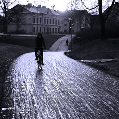 December Day (diesmali) Tags: street blue wet bike cyclist sweden explore sverige frontpage linkping stergtland photofilter canon50mmf14usm canoneos7d