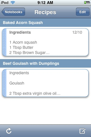recipes with Gnotes screen 1