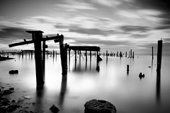Low Tide (charlesashaw) Tags: ocean white black water canon silver bay pier san francisco 10 stop filter 7d nd pro 1022mm efex