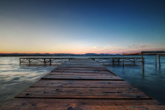 Balaton Pier (TheFella) Tags: longexposure blue sunset red sky sun lake texture yellow clouds photoshop canon eos golden pier wood