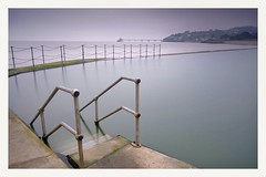 Clevedon marine lake .  Shot taken using fuji xt2 with 10-24mm lens . Really misty dull overcast day so really impressed by the colors from the fuji files .  Lee filters also used ... (andyflickr2) Tags: longexposure fujixt1 leefilters leebigstopper clevedon fujifilm bigstopper coast bristol fuji naturalseapool xt2 landscapes seascape coastal landscape marinelake