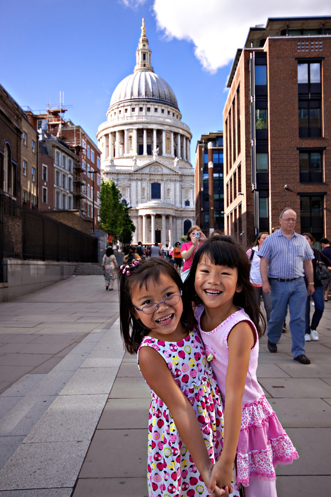 Chloe & Pearl in Front of St Paul Cathedral