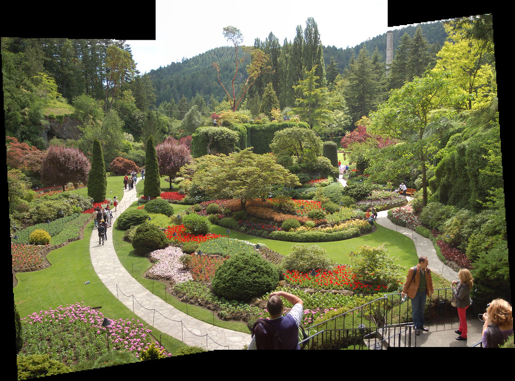 Sunken Garden (jjjjasmine) Tags: Life Flowers Summer Panorama Plants Canada Green  Gardens Photoshop