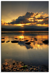 Portrait of a Sunset (TheJbot) Tags: sunset lake reflection water japan clouds rocks flare rays distillery nagano hdr breathtaking jbot suwa sigma1020mm breathtakinggoldaward