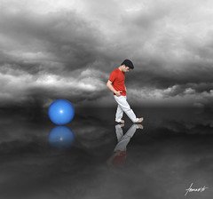 The Walkout. (Tomasito.!) Tags: blue boy selfportrait man guy love apple hat clouds photoshop self reflections pose walking lens macintosh mac nikon asia southeastasia flickr exercise walk philippines kitlens surreal manipulation explore reflect kit conceptual nikkor workout frontpage blueball pinoy redshirt pilipinas walkingman selfie headgear exerciseball cs4 walkaway tomasito d90 80105 nikond90 80105mm bestcapturesaoi