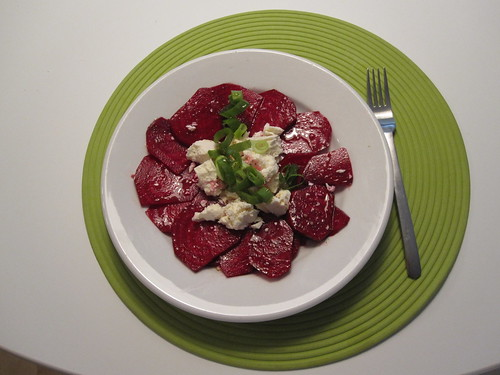 Raw beet and feta salad - from groceries