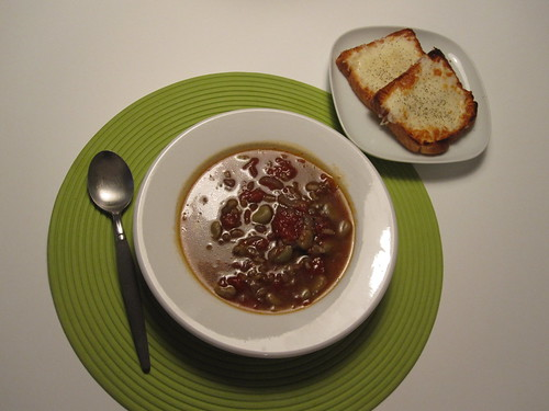 braod bean soup and cheezy toasts - from groceries