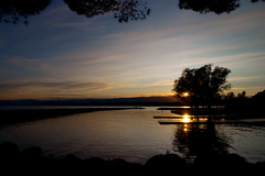 Atardece en Ouchy (Luis Benítez) Tags: sky sun arbol lago atardecer agua nikon suiza lac lausanne cielo leman ouchy rocas d80 luisfran