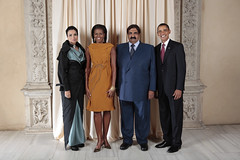 U.S. President Barack Obama and First Lady Michelle Obama With World Leaders at the Metropolitan Museum in New York (http://www.state.gov) Tags: usa ny newyork president whitehouse michelle unitednations thani obama qatar firstlady generalassembly barackobama unga althani michelleobama