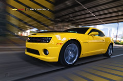 2010 Camaro SS Rig10 (ojsantiago21) Tags: motion blur nikon downtown driving photographer cincinnati ss automotive camaro rig 2010 d300 blackstripes automotivephotographer rigshot ojsantiago rallyyellow