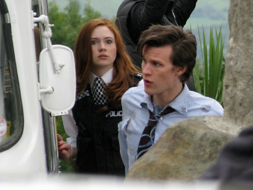 Karen Gilan and Matt Smith on location