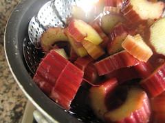Steamed rhubarb