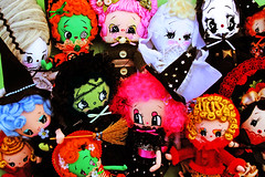 Halloweenies!!! (boopsie.daisy) Tags: autumn orange holiday black cute fall halloween vintage bride doll dolls grim reaper handmade witch zombie batch ghost inspired adorable kitsch plush spooky homemade frankenstein handpainted boopsiedaisy