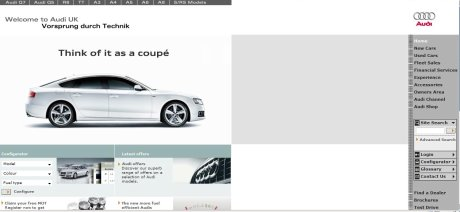 Audi homepage