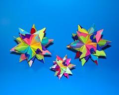 Rainbow Stars (! Polyhedra !) Tags: art geometric paper star origami geometry craft math papiroflexia tornillo papermodel polyhedra foldedpaper modularorigami matemáticas kusudama geometría unitorigami bascetta bascettastar módulotornillo