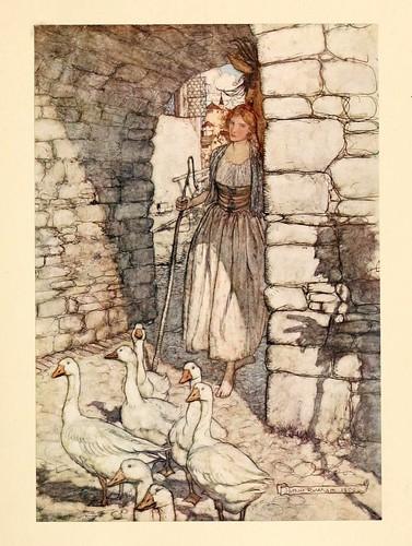 017-La chica de los gansos- Snowdrop & other tales 1920- Grimm-Ilustrada por Rackham