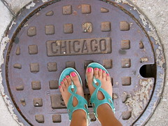 Chicago (seaotter22) Tags: street city chicago feet shoes toes sandals manhole 2009