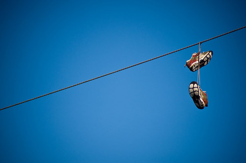 40 shoes on a wire