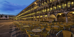 Piazza San Marco  - RSVP  not needed (janusz l) Tags: morning venice saint st sunrise square geotagged lights restaurant early cafe chairs outdoor mark empty tables piazza hdr sanmarco reservation rsvp reservations caffflorian janusz leszczynski geo:lat=45434347 geo:lon=1233847 003302
