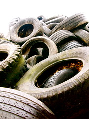 Old Tires, Landfill (Kara Allyson) Tags: green dump tire rubber tires madison waste landfill madisonwisconsin oldtire