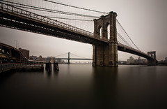The Brooklyn Bridge (chris lazzery) Tags: newyorkcity longexposure newyork brooklyn manhattan brooklynbridge manhattanbridge eastriver 5d canonef1740mmf4l bw30nd