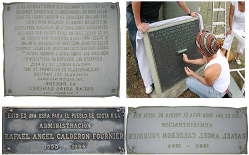 """""""Inversión Histórica"""" de Sila Chanto. Acción-impresión de placas conmemorativas en espacios públicos de San José y Cuenca."""