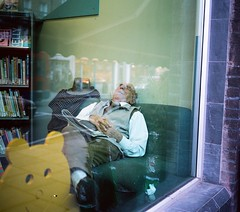 Fast asleep in the children's library (deepstoat) Tags: bear colour 120 film hat mediumformat library snooze asleep snore fortywinks mamiya7ii autaut deepstoat