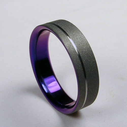 Pinstripe Titanium Wedding Band in Purple – Zoe and Doyle  Covet