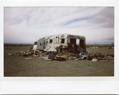 (andrew sea james) Tags: color abandoned film trash landscape graffiti garbage fuji lasvegas scanner nevada wide 200 instant trailer caravan camper instax v500 espon