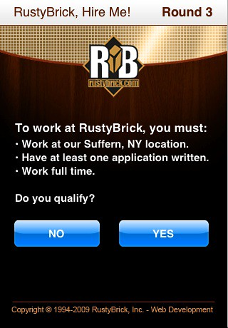 RustyBrick Hire Me iPhone App