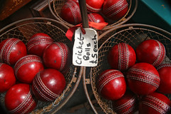 cricket balls (FarFlungTravels) Tags: old red summer game classic sport shop ball forsale basket market antique sold balls competition games cricket used baskets buy trade selling fleamarket cricketball sportinggoods