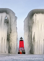 Charlevoix Light ... between the rails (Ken Scott) Tags: winter red usa lighthouse ice michigan icicle charlevoix icecycles