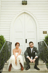 Andy & Bethany (sara kiesling) Tags: wedding white church andy happy interesting couple dress marriage chapel bethany suit explore cowboyboots canon5dmarkii