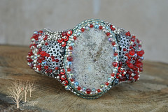 Unexplored paths_3 (~Gilven~) Tags: bead beads beading beadembroidery bracelet silver japanesebeads jewelry jewelryfindingsbyannachernykh red naturalleather fungus forest foggyforest czechbeads green mint gem glimmerite