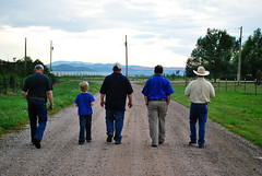 Men Walking ({2H Design}) Tags: road travel blue boy people man men hat walking shoe back hike step
