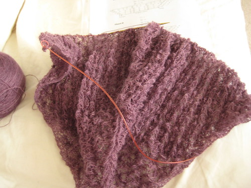 Purple pangea shawl progress