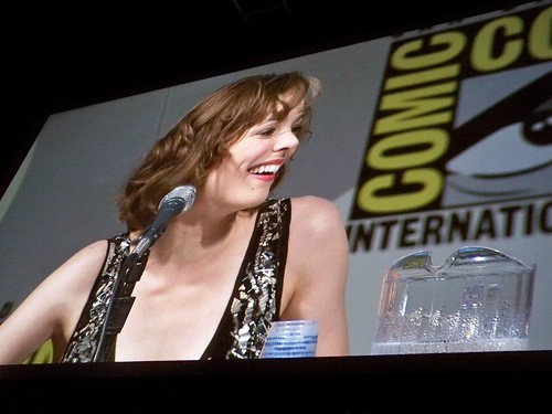 Rachel McAdams on the Sherlock Holmes panel at the Warner Brothers Presentation at San Diego Comic-Con International