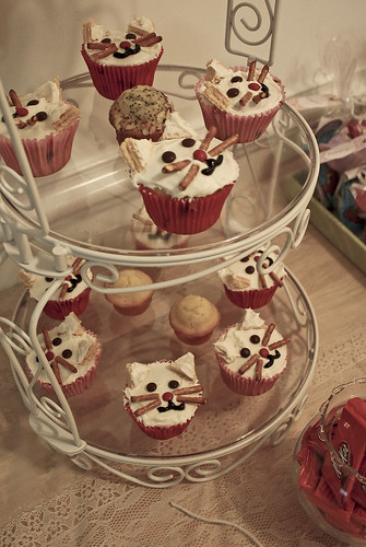 Cat Cupcakes on a Stand